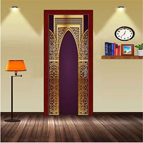 YPXXPY Pegatinas de Puerta para Puertas Interiores 3D Pegatinas de Pared Autoadhesivas de Doble Puerta de Oro púrpura para decoración del hogar 77 * 200Cm
