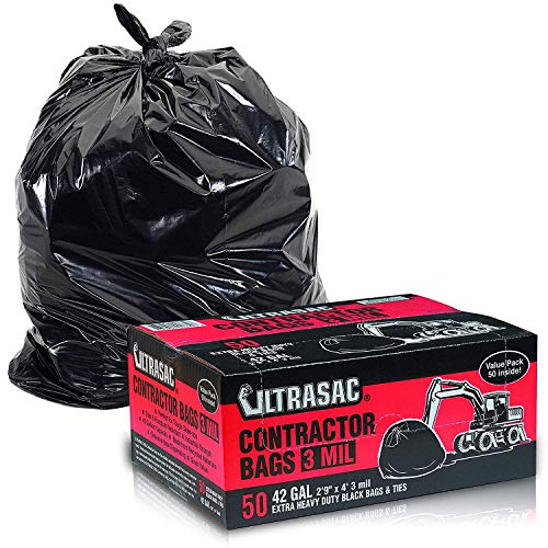 """Heavy Duty Contractor Bags by Ultrasac - (VALUE 50 PACK /w TIES), 42 Gallon, 2'9"""" X 4' - 3 MIL Thick Large Black Industrial Garbage Trashbags for Construction and Commercial use, 50 Ct. (719963)"""