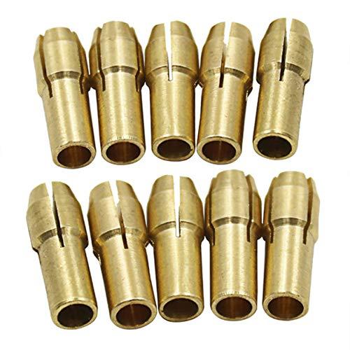 10 TEILE/SATZ Dreibacken Kupfer Bohrfutter Spannzange Bit Set für Dremel Drehen Werkzeug Elektrische Schleifzubehör-Gold