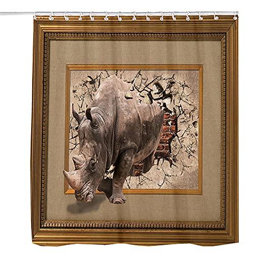 Duschvorhang, Anti-Schimmel Nashorn, Das Die Mauer Bricht Wasserabweisend Waschbar Duschvorhäng Polyester Badvorhang 200 x 200 cm