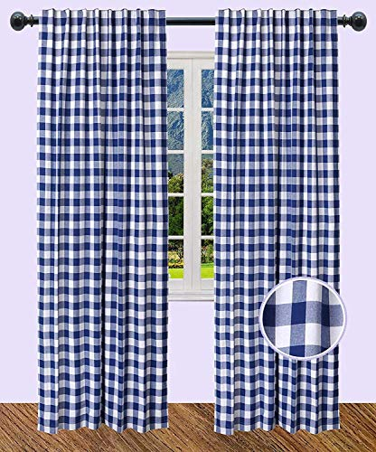 The Wooden Town Dining Room Curtain, Gingham Check Curtain, Rod Pocket Curtain, Décor Panel, Check Curtain, Reverse Window Panels, Curtain Panels for Door- 50x72 Inch-Navy White-Set of 2 Panels
