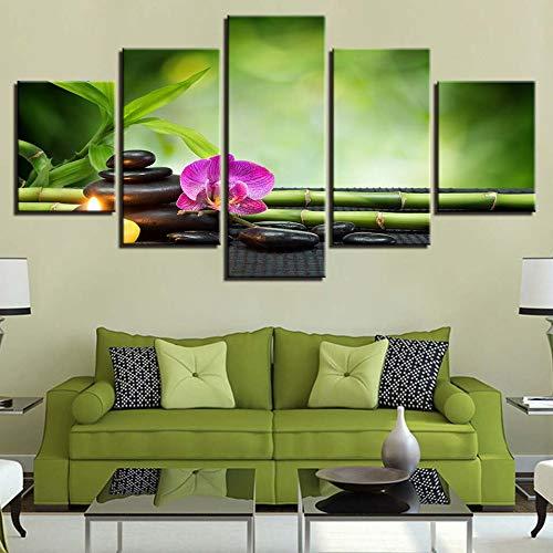 Aicedu kunstdruk op canvas, modulair, HD-print, Home Decor, steen, 5-delig, bamboe, wand, kunst, foto, S bed, achtergrond L-30x40 30x60 30x80cm Frame