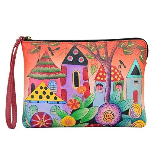 Anna by Anuschka Leather Zip Around Clutch Wristlet Wallet Organizer Mini Purse (Vintage Garden)
