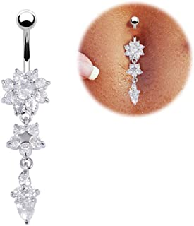 Sexy Dangle Belly Bars Belly Button Gold Silver Rings Belly Piercing CZ Crystal Flower Body Jewelry Navel Piercing Rings Drop,White