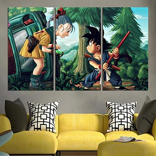 104Tdfc Cuadro sobre Impresión Lienzo 3 Piezas Dragon Ball Songoku con Novia 3 Piezas Lienzo Grandes XXL Murales Pared Hogar Decor