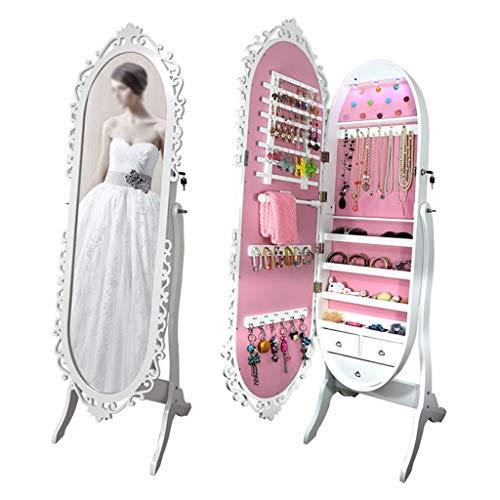 EVEN Armario de joyería, gabinete de joyería con Cerradura con Pantalla Completa Ver Espejo más Grande, Organizador de joyería de Gran Capacidad