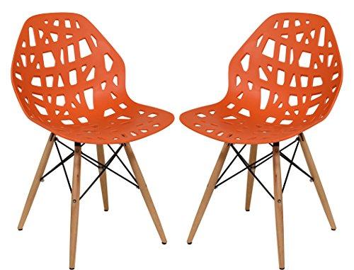 LeisureMod Calvert Modern Eiffel Base Side Dining Chair with Wood Dowel Legs Set of 2 (Orange)