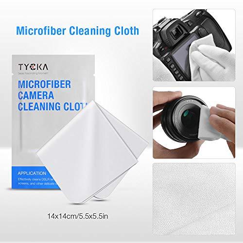 TYCKA Kit di pulizia per fotocamera soffiatore d'aria, penna ottica, panno di pulizia in microfibra per obiettivo, DSLR e schermo LCD
