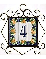 Huisnummers, Italiaanse keramische nummers en letters tegels, citroen ontwerp, tegel grootte: 10 cm x 3,5 cm, 3 tot 6 tegelframes