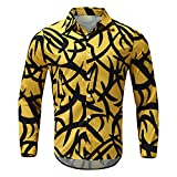 Tops for Men Large SIze Colorful Printing Long Sleeve Lapel Fashion Slim Fit T-Shirt Autumn Summer Casual Tee Blouse (09 Yellow, XXL)