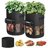 Idefair Sacchetto per la coltivazione di ortaggi, 2 confezioni da 10 galloni Sacchetti per la coltivazione di piante Sacchetti per la coltivazione di patate Fioriere in tessuto Vasi per frutta e fiori