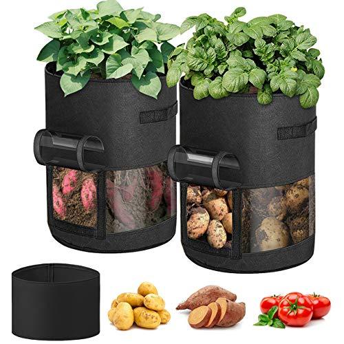 Idefair Gemüseanbaubeutel, 2Pack 10 Gallonen Pflanzenanbaubeutel mit 360 ° Visualisierung, Kartoffelanbaubeutel Stoff Pflanzgefäße Töpfe Gartenpflanzbeutel für Fruchtblume Tomaten Karotte