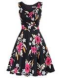 Vestidos sin Mangas Mujer a Fiori de Cintura Alta Vestidos Coctel Mujer Cortos CLE02811-8 M