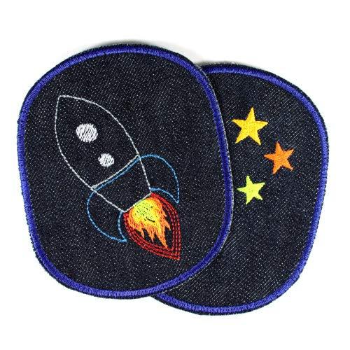 Hosenflicken Rakete Sterne 2 Knieflicken 12 x 10cm Space Flicken zum aufbügeln Weltraum Bügelflicken Weltall Bio Jeans Aufbügler Flickli Bügelbilder