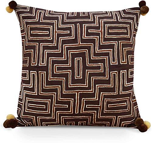 VLiving Funda de almohada marrón bordada estilo Mola (marrón, 45,7 x 45,7 cm)