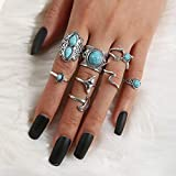 IYOU Set di anelli vintage turchese a mezzaluna in argento con anelli a coda di pesce, anelli impilabili per donne e ragazze (confezione da 8)