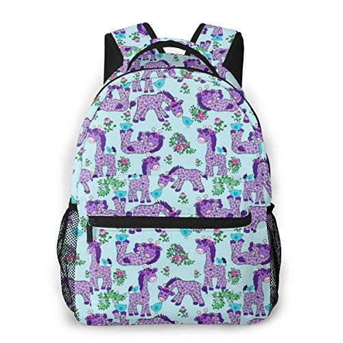 Lawenp Lavender Giraffe Purple Travel Laptop Backpack Business Anti Theft Slim Durable Laptops Backpack Water Resistant College School Computer Bag for Women & Men Fits 15.6 Inch Notebook