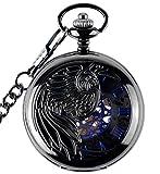 Infinite U Aigle/Ange/Phénix Bleu Chiffre Romains Cadran Mécanique Montre de Poche...
