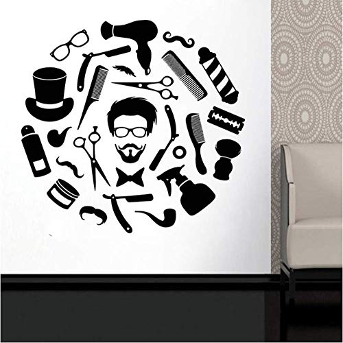 Salon de coiffure vinyle autocollant mural salon de beauté visage cheveux style cheveux style homme barbe barbier boutique décoration de la maison papier peint 30x31 cm