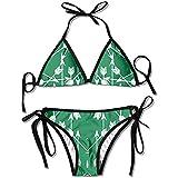 Set Bikini, Costume da Bagno Bikini Donna Verde Freccia Set Costume da Bagno
