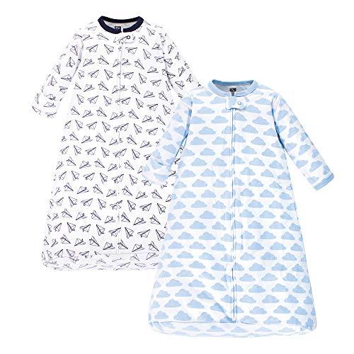 Hudson Baby unisex baby Cotton Long-Sleeve Sleeping Bag, Sack, Wearable Blanket, Paper Airplane, 0-3 Month US