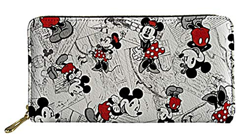 Mickey and Minnie Mouse Zip Around Womens Hand Purse Clutch Wallet