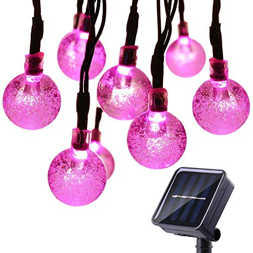 Qedertek Solar String Lights Outdoor,Bubble Globe Solar Lights 20foot 30 LED String Light Crystal Ball Lighting for Fairy Garden, Patio, Wedding, Party and Holiday Decorations (Pink)