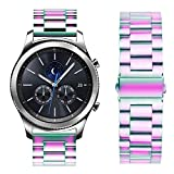 Oitom Stainless Steel Bands for Galaxy Watch 46mm Galaxy S3 Classic/Frontier,22mm Premium Metal Replacement Band (Rainbow)