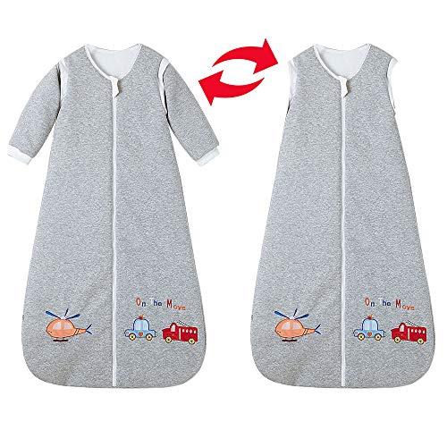 Schlafsack baby Winter mit Ärmel Junge Mädchen Neugeborener - 3.5TOG kinder Schlafanzug 0-10Jahre. (110cm/24-36monate, Grau-Flugzeug/Polizeiauto/Feuerwehrauto)