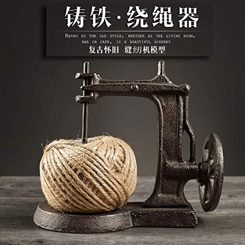 Bedom wallpaper Retro nostálgico de hierro fundido máquina de coser cuerda enrollador de cuerda de ventana de país americano accesorios decorativos adornos