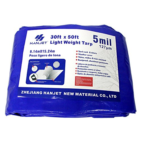 Hanjet Waterproof Outdoor Tarps Tarpaulin 30 x 50 Feet 5 Mil Thick Camping Tents Poly Tarp for Ice Skating Rink and Ground Pool Blue