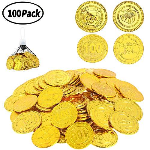 XUNKE Goldmünzen Piratenschatz, 100 Stück Piraten Goldmünzen/Gold Taler/Goldmünzen Deko/ Goldmünzen Kinder, für Piraten Party Kindergeburtstag Dekoration