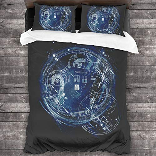 KUKHKU Time And Space Machine Doctor Who 3 Pieces Bedding Set Duvet Cover 86'x70', Decorative 3 Piece Bedding Set With 2 Pillow Shams