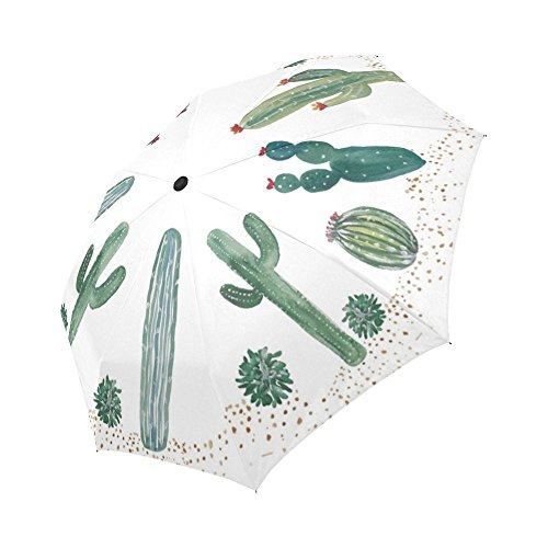 InterestPrint Cactus Painting Automatic Folding Compact Sun/Rain Umbrella, Auto Foldable Rain Travel Umbrella UV Protected