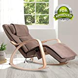 OWAYS Massage Chair 3D Full Back Massager, Rocking Design, Adjustable Pillow, Vibrating Function, 6 Massage Modes, Wooden Handrail, Linen Cover with Zipper