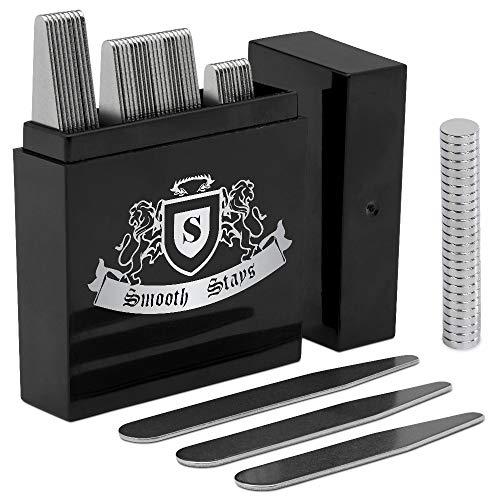 44-teiliges Magnet-Kragenstäbchen-Set in geteilter Box (5,6 cm, 6,35 cm und 6,9 cm) mit 20 Kragenmagneten, Silber