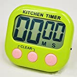 PENGHAO Magnetic LCD Digital Kitchen Countdown Alarm Clock, White Kitchen Timer with Stand, Practical Cooking Timer Alarm Clock, Green