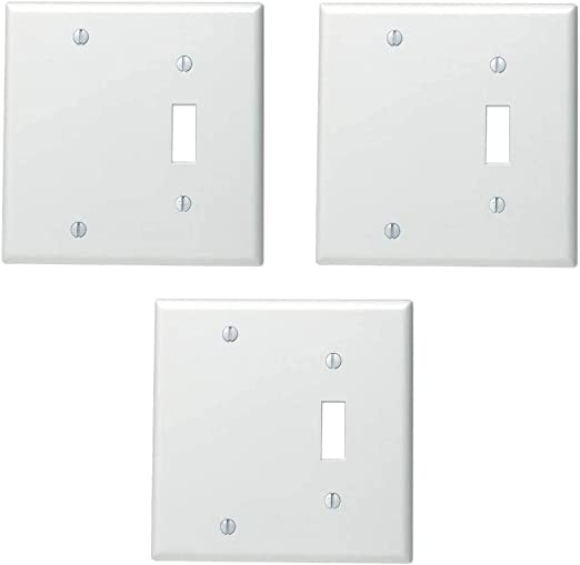 Leviton 88006 002 000 1 Toggle 1 Blank Standard Size Wall Plate 2 Gang 4 5 In L X 4 56 In W 0 22 In T Standard White Switch Plates Amazon Com