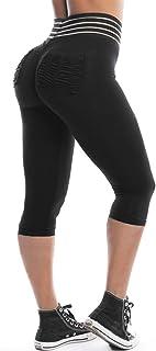 Women High Waist Scrunch Yoga Capris Ruch Butt Lift Mesh Leggings with Pockets