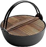 Olla de Hierro Fundido Cubierta de Esmalte Gruesa cazuela de Sopa sukiyaki Japonesa con Tapa de Madera para cocinar en Camping Fuego Abierto Seguro de Gas hasta 29