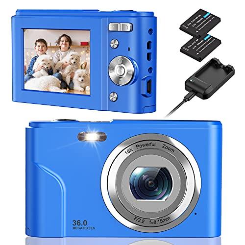 Digital Camera, NEZINI 2 Charging Mode Mini Kids Camera, Full HD 1080P 36MP 2.4 Inch LCD Vlogging Camera for Kids, 16X Zoom Compact Pocket Camera Point and Shoot Camera for Kids Beginners (Blue)