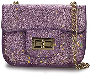 Adebie - Fashion New Paillette Summer Women Messenger Bag Girl's Flap Designer Shoulder Crossbody Bag Cute Child Mini Chain Small Bag Purple []