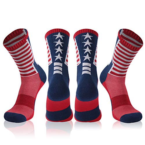 Adult Novelty Mid-calf Socks, Gmark Women's USA Flag Home Fitness Socks-Independence Day-Stars&Stripes Design-Celebrate America 2-Pair