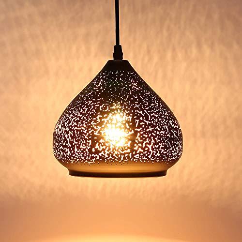 LIGHTESS Lámpara Vintage de Techo Casquillo E27 Colgante, Luz Industrial, Lámpara Retro Techo, Color Negro