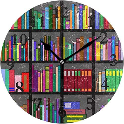 Lmlfes Best Bookshelf Silent Non Ticking Round Acrylic Wall Clock Home Office School Decorative Clock Art One Size
