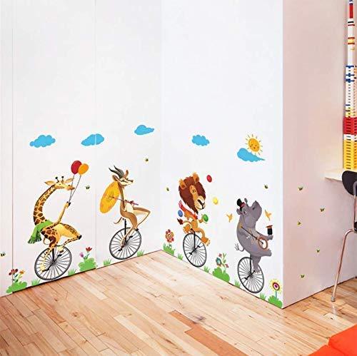 Drôle Wandsticker, Motiv: Kreis, Acrobatie, Schubkarre, Kinderzimmer, Dekoration, für Haus, Tiere, Comic, Wandsticker, PVC, Wandkunst, 112 x 60 cm