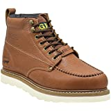 """Golden Fox Steel Toe Work Boots Men's 6"""" Moc Toe Wedge Comfortable Boots for Construction Size 7 D(M) Brown"""