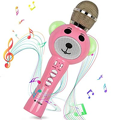 Kids Karaoke Microphone, Wireless Bluetooth Childrens Karaoke Singing Machine Portable Rechargeable with Magic Voice Enhanced Sound Effect and LED Lights