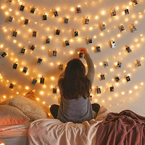 MZD8391 50 Photo Clips String Lights/Holder, Indoor Fairy String Lights for Hanging Photos Pictures Cards and Memos, Ideal Gift Photo Clip Holder (Warm White)