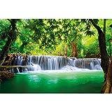 Foto mural Cascada de Feng Shui Decoración Naturaleza Selva Paisaje Paraíso Vacaciones Tailandia Asia Wellness Spa Relax I foto-mural foto póster deco pared by GREAT ART (210 x 140 cm)